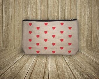 Pocket zippered little hearts (size L)