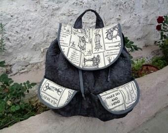 """Black Backpack """"Sewing Machine"""""""