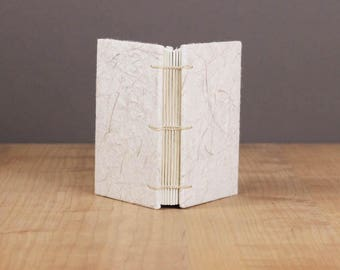 White Notebook, Small Sketchbook, Mini Journal, Art Journal, Watercolor Journal, Handmade Paper, Mulberry, Natural, Lay Flat Notebook, A7