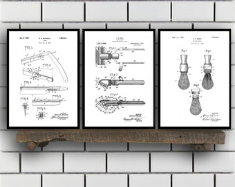 Shaving Inventions set of THREE - Shaving Patent - Men's Bathroom Art - Men's Bathroom Wall Art - Razor Patent - Shaving Brush Patent