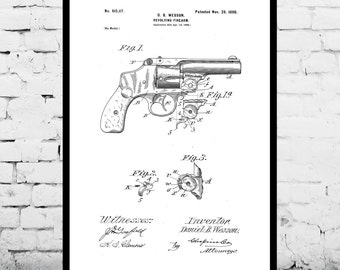 Wesson Revolver Poster, Wesson Pistol Patent, Wesson Pistol Print, Wesson Pistol Art, Wesson Pistol Decor, Wesson Pistol Blueprint, Revolver