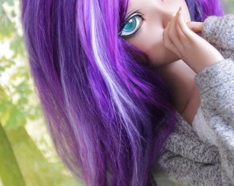 Wig for Minifée, Purple with sweet green
