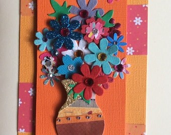 Vase of flowers orange/red card