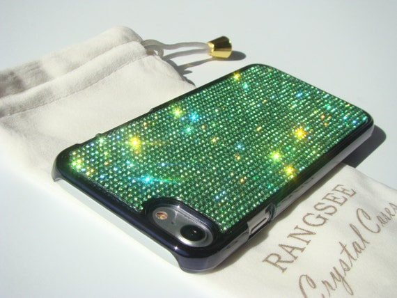 iPhone 7 Case Green Peridot Rhinstone Crystals on iPhone 7 Black Chrome Case. Velvet/Silk Pouch Included, Genuine Rangsee Crystal Cases.