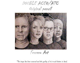 ORIGINAL PENCIL double ACEO sketch card. Jack ONeill sg1 Stargate tv series, characters series.