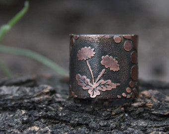 Copper Dandelion Flower ring - Summer ring - Blowball ring - Taraxacum ring - Etched flower ring - Forest Elven Ring