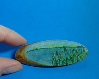 Wooden brooch pin accessory painted landscape handmade new original one of a kind gift. SHIPPING INCLUDED.