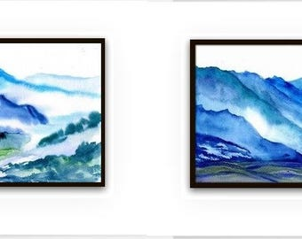 Mountain forest bluegreen Set of 2 abstract landscape watercolor painting wall art nature print  hills teal aqua nature men gift for him