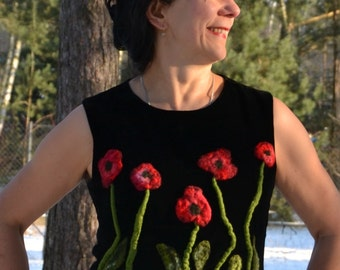 Nuno felted blouse poppies  M L blouse poppies Wearable Art felt clothing OOAK wool coat felt clothing Women's Clothing