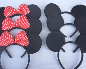 40 Red Bow Minnie Mouse Ears Mickey Mouse ears Birthday Party Favors Disneyland Trip Birthday Party