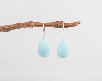 Subtle vintage Robins egg blue Czech glass teardrop earrings, blue earrings, turquoise,vintage glass,silver, elegant,minimalist, earrings