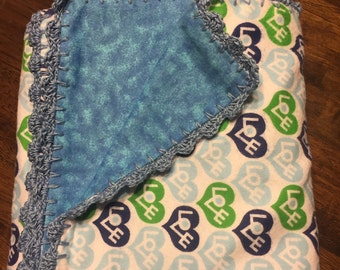 Reversible Love Blue and Green Hearts Baby Blanket