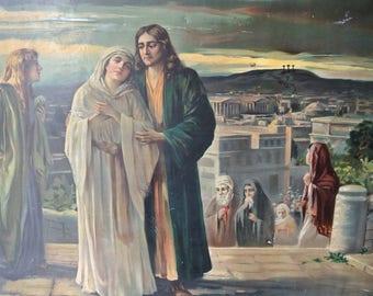 Wonderful Vintage Religious Tin Lithograph - The Return From Calvary - Catholic Educational Co. - Catholic - Jesus - Mary - Religious Print