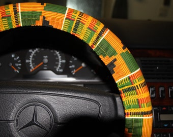 African print orange  green and black steering wheel cover / Car accessories / Hostess gift idea /women's wheel cover .