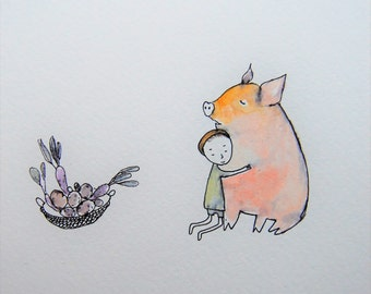 pig art/pig painting/child and pig/child hugging a pig/pig nursery art/saved farm animals/piglet/saved pig/cute pig/i love pigs