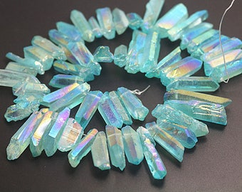 Mystic Coated Titanium Quartz Point Beads, Electroplated Quartz Crystal Beads, Top Drilled Beads, 15 inch full strand
