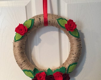 Felt Rose Yarn Wreath