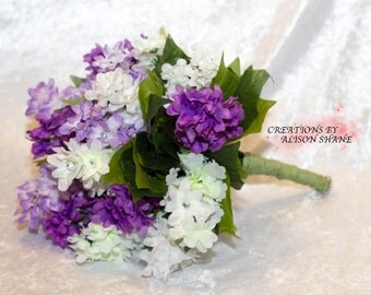 Purple and White Silk flower wedding bouquet
