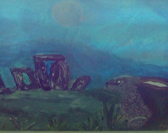Moon Gazing Hare At Stonehenge hand painted on canvas
