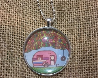 Large 1.5 inch Vintage Caravan  Art Pendant and Chain Necklace- Original Painting with Domed Glass Top
