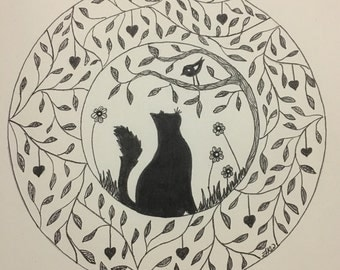 Cat and Bird Friends Feline Wall Art Print of Original Ink Drawing - Limited Edition Signed Illustration