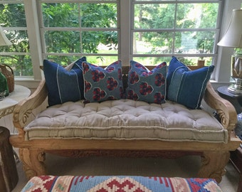 "Tufted Wool-Filled Daybed Cushion / 4"" thick / zippered cover"