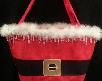 Large Handmade Santa Purse W/ Long Icicle/Crystal Bead Mix Trim
