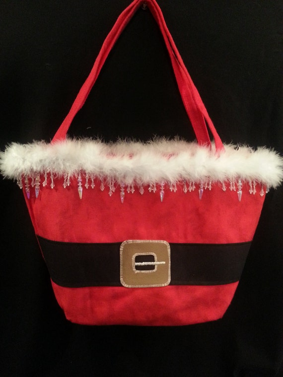 Large Handmade Santa Purse W/ Long Icicle/Crystal Bead Mix Trim