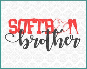 CLN0374 Softball Brother Bro Bub Little Big Sibling Family SVG DXF Ai Eps PNG Vector Instant Download COmmercial Cut File Cricut SIlhouette