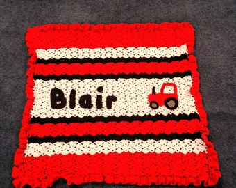 Custom Name Crochet Baby Blanket - Personalized, Baby Gift