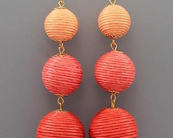 Coral & Orange Ombre BonBon Earrings