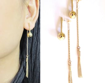 Clip-On Front Back Earrings |20B| Gold Chain Fringe Tassel Clip on earrings Non Pierced earrings Ball Drop Clip on Dangle Earrings, clipons