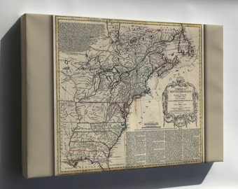 Canvas 24x36; Revolution Map Of United States Of America 1777