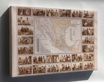 Canvas 24x36; Ethnographic Map Of Mexico 1885
