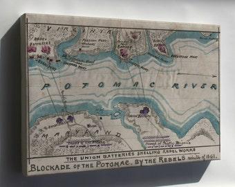 Canvas 24x36; Map Of Blockade Of Potomac River 1861