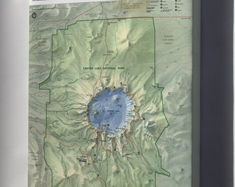 Canvas 24x36; Map Of Crater Lake National Park, Oregon 1996