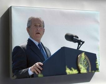 Canvas 24x36; George W. Bush Speaks At Coast Guard Commencement