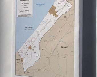 Canvas 24x36; Cia Map Israel Settlements Gaza Strip Sept 1984