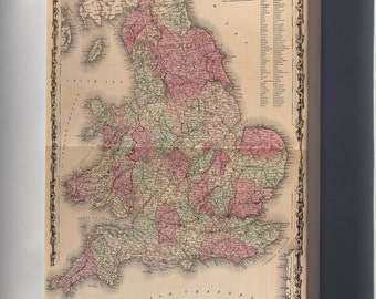 Canvas 16x24; Map Of England And Wales 1862