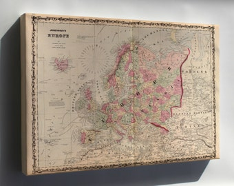 Canvas 16x24; Map Of Europe 1862
