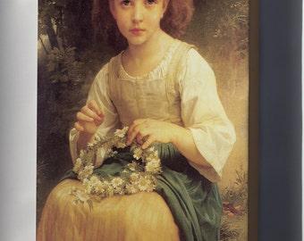 Canvas 16x24; Child Braiding A Crown William-Adolphe Bouguereau (1825-1905) - Child Braiding A Crown (1874)