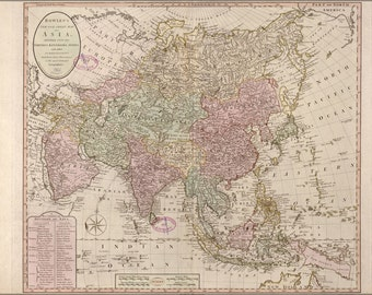 16x24 Poster; Map Of Asia 1791; India Russia China Japan