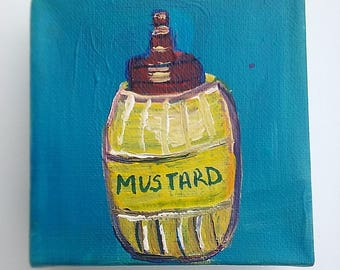 Mustard painting, food artwork, condiment art, still life, daily painting, tiny artwork, mini canvas, original artwork, 4x4 acrylic art