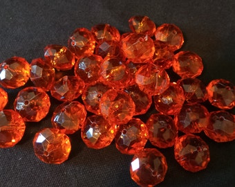 Lot Of Large Faceted Orange Plastic Beads 8mm