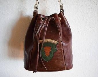 Vintage Leather Crossbody Bag, Vintage Designer Handbag, Vintage Bucket Bag, 90s Boho Festival Fashion Bag With Long Handle
