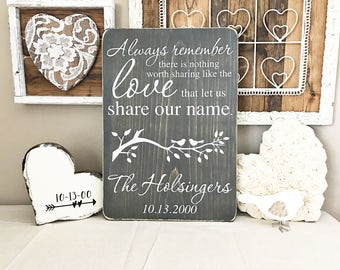 """Always remember there is nothing worth sharing like the love that let us share our name, Wooden Sign (16"""" x 11.25"""")"""