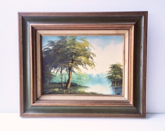Acrylic Painting - Tree Painting - Mid Century Painting - Nature Painting - Retro Painting - Artist Signed - Eclectic Painting - Framed Art