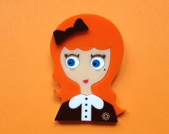 "Ginger Hair girl Acrylic Brooch ""Katherine""."