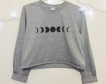 Moon Phase Screen Printed Grey Long Sleeve T-shirt / Crop Top Option