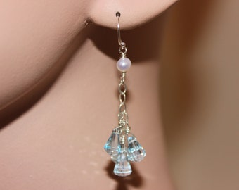 Swiss Blue Topaz & Fresh Water Pearl Earrings, 925 Sterling Silver, Hand Made, Valentine's Day